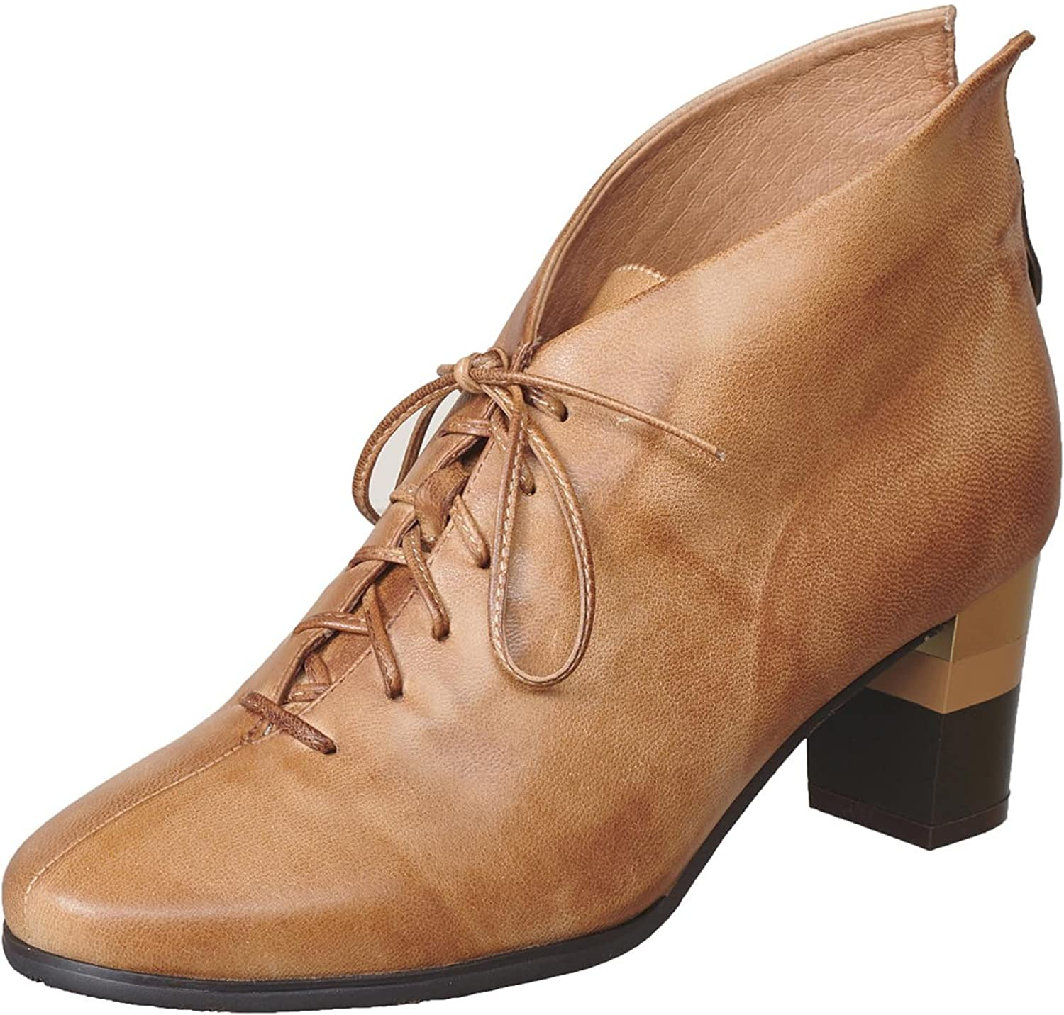 Antelope Women's 578 Leather Laceup Stripe Heel Bootie