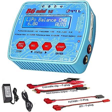ZHITING Cargador LiPo 1-6S AC/DC Dual Power 80W 7A Digital B6Mini V2 RC Descargador de Equilibrio para Li-Ion Life NiCd NiMH LiHV PB Smart Batteries