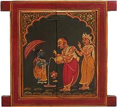 Jharokha (Window) Painted with A Mythological Episode - Wood Statue