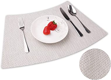 Convetu Placemats for Round Tables, PM05 Kitchen Dining Wedge Table Mats Set of 4 Modern Solid Color Textilene PVC Vinyl Non