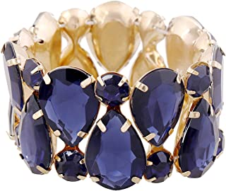 D EXCEED Women`s Crystal Statement Bracelet Gift Idea Elastic Sparkle Stone Claw Bracelet Beaded Stone Stretch Bangle Bracelet for Women