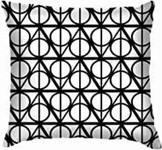 X-Large Black White Monochrome Geometric Harry Beauty Fashion Throw Pillows Covers Accent Home Sofa Cushion Cover Pillowcase Gift Decorative 26X26 Inch