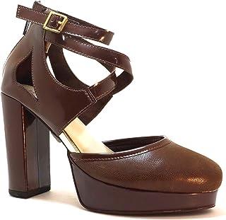 hype Women's Platform Heeled Gladiator Comfort Fit Sandal ZD9122