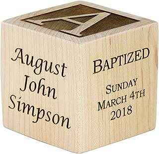 Personalized Baby Baptism Wood Block, Choose from 3 Sizes, Baptism Wood Block, Baptism Gifts for Godparents, Baby Boy, Baby Girl, Baby Dedication Gifts, Wood Baby Block, Unique Baptism Gifts (2