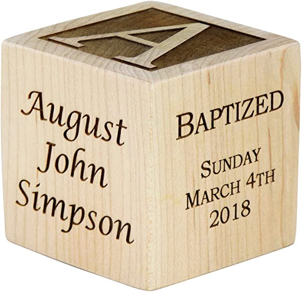 Personalized Baby Baptism Wood Block Choose From 3 Sizes Baptism Gift For Boy Girl Baptism Wood Block Baby Dedication Gifts Wood Baby Block Unique Baptism Gifts 3