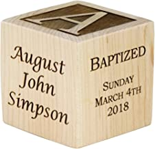 Personalized Baby Baptism Wood Block, Choose from 3 Sizes, Baptism Wood Block, Baptism Gifts for Godparents, Baby Boy, Baby Girl, Baby Dedication Gifts, Wood Baby Block, Unique Baptism Gifts (2