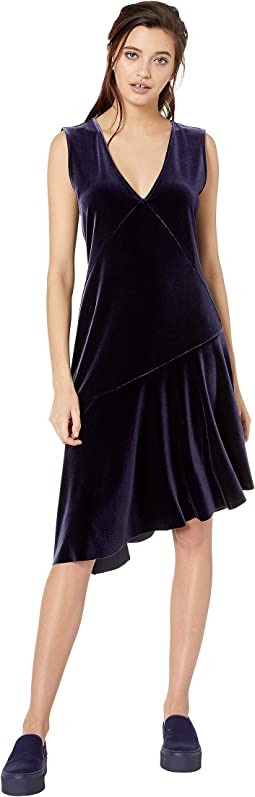 Asymmetrical Stretch Velvet Ruffle Dress