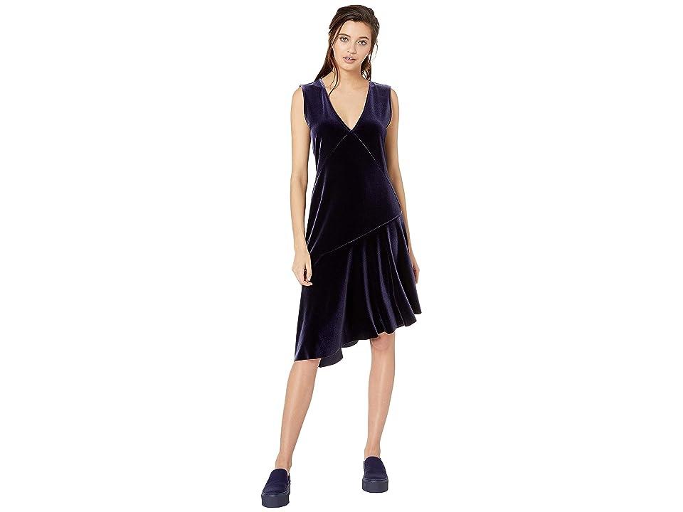 NeverEven Asymmetrical Stretch Velvet Ruffle Dress (One Am) Women