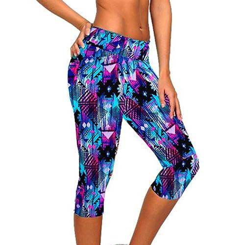 Ularmo Women s Printed High Waist Fitness Yoga Stretch Cropped Sport Pants eb394c55e
