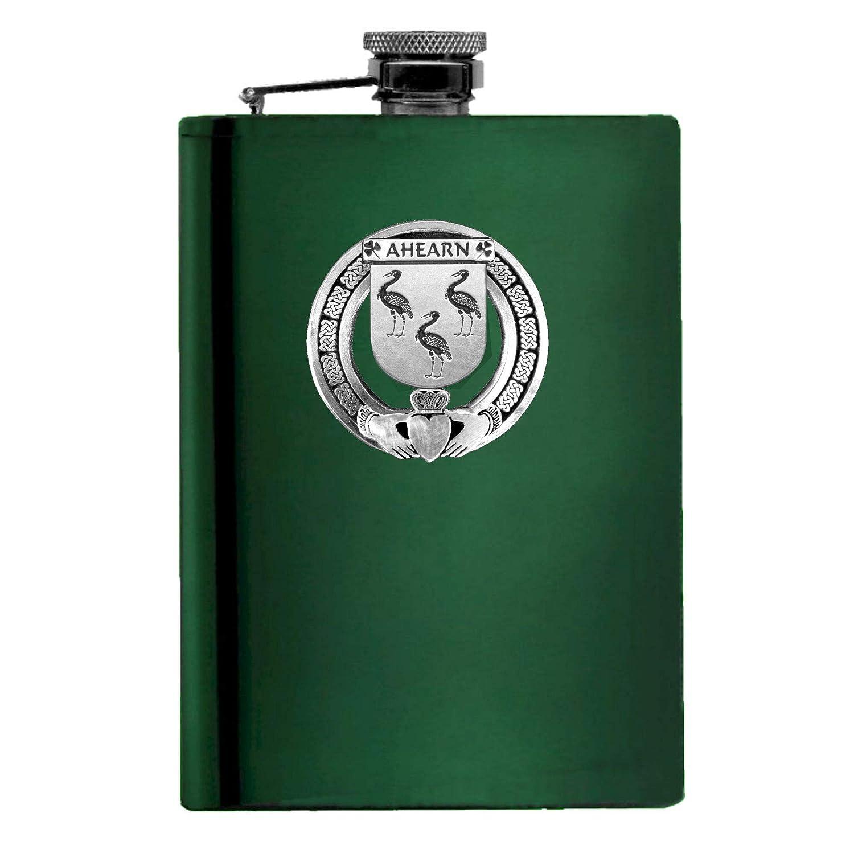 Ahearn Free shipping / New Irish Claddagh Badge 8 oz. or Flask Ebony security Emerald Stainl