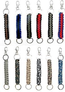 Paracord Keychain Keyrings 12 Pack for Men Boys Women Girls Teens | Key Keeper Party Favors | Handmade Cobra Braid Key Fobs Braided with Genuine 550 lbs Parachute Cord | Frogsac USA Seller (Guys)