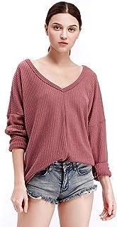 Women Waffle Pullover Knit Tunic Blouse V Neck Tops Loose Fitting Bat Wing Plain Shirts
