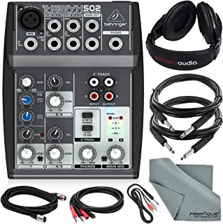 Behringer XENYX 502 5-Channel Audio Mixer and Deluxe Bundle w/Stereo Headphones, 5X Cables, and Fibertique Cloth
