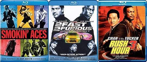 1 2 3 Action Com E Dee - Smokin' Aces, 2 Fast 2 Furious and Rush Hour Three 3-Blu-Ray Comedy Action Bundle