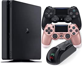 Playstation 4 Slim 1TB Console with Black and Rose Gold Wireless Controller and Mytrix DS4 Fast...