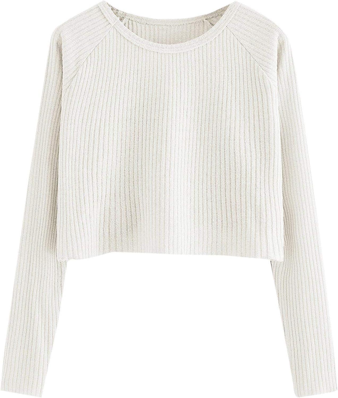 SweatyRocks Women's Casual Solid Ribbed Knit Raglan Long Sleeve Crop Top T Shirt