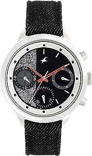 Black Dial Black Denim Strap Watch