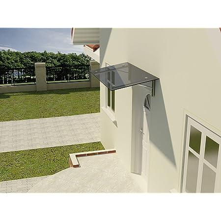 Gr/ö/ße:150 x 90 cm Glasvordach Zugstreben 90 /& 120 cm Tiefe Haust/ür/überdachung Edelstahl Vordach T/ürvordach Glasart:Milchglas