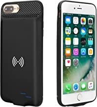 Battery Case for iPhone 6 Plus / 6S Plus / 7 Plus / 8 Plus with QI Standard Wireless Charging, Epuirie 5000mAh External Power Bank Portable Rechargeable Backup Protective Battery Pack (Black)