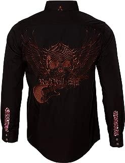 Men's Long Sleeve Embroidered Flying Skull Guitar Button Down Black Shirt 706B