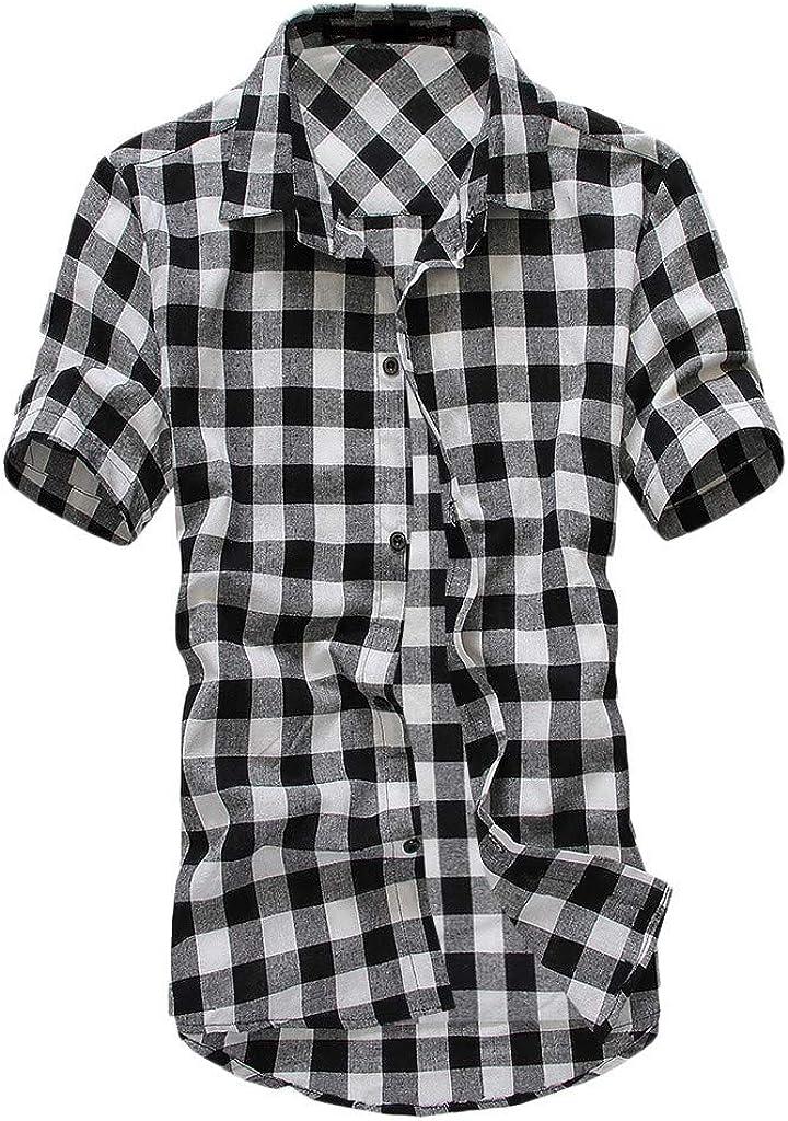 DIOMOR Mens Classic Casual Plaid Short Sleeve Button Down Shirts Fashion Lapel Tees Shirts Blouses Tops