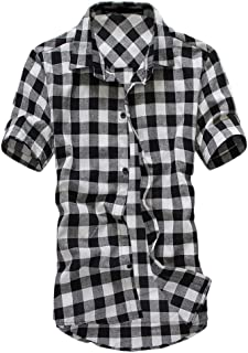 LEXUPA top for men Men's Short Sleeve Lattice Plaid Painting Large Size Casual Top Blouse Shirts
