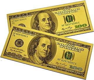 2PCS x $100 Bill One Hundred Dollar Lucky Money Magnet US Souvenir Patriotic Office Board Desk Door Fridge Magnets April Fools - Set of 2 (Gold)