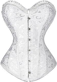 0fc7566e66d Women Lace up Boned Plus Size Overbust Corset Bustier Bodyshaper Top Flower  Pattern Waist Cincher