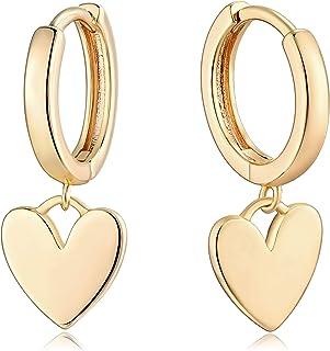 Mevecco Gold Dainty Dangle Hoop Earrings for Women 14K Gold Plated Delicate cute Geometric Triangle Cone Dangle Earrings