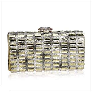 DIEBELLAU New Diamond-Encrusted Evening Bag Ladies Banquet Bag Dress Hand-held Evening Bag (Color : Yellow, Size : XS)