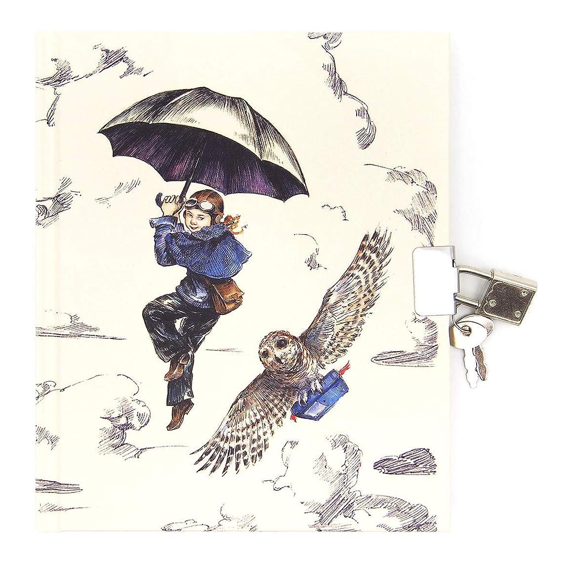ロジャーラボード ハードカバー ジャーナルノート 鍵付き (フクロウ×傘×少女) ASD015
