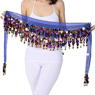 ZLTdream Belly Dance Color Film Gong Hip Scarf Chiffon