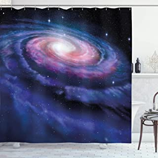 Ambesonne Modern Shower Curtain, Spiral Galaxy Andromeda Milky Way Cosmic Dust Infinity Mystery Artwork Print, Fabric Bathroom Decor Set with Hooks, 75 Inches Long, Dark Blue Purple