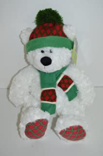 St Jude White Chirstmas Bear with Red Scarf and Hat Plush Animal