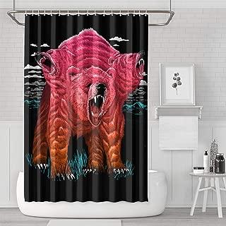 AKDJDS Trippy Three Haed Bear Funny Shower Curtain with Hooks Bathroom Fabric Curtains - 72 X 72 Inch