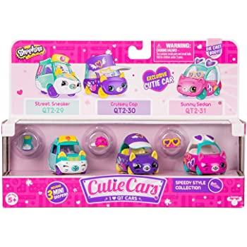 3 Pack Pink//Purple 56739 Shopkins Cutie Car S2 Collectible