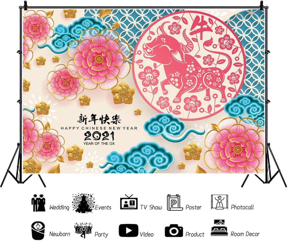 DaShan 12x10ft Spring Festival 2021 Happy Chinese New Year Backdrop Flowers Wall Year of The OX Chinese Theme Party Photography Background Asian Chinese New Year YouTube Portrait Photo Props