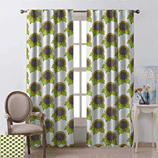 youpinnong Floral, Curtains Valance, Hand Drawn Sketch Sunflowers with Vibrant Fresh Spring Leaves, Curtains Nursery, W72 x L84 Inch, Apple Green Yellow Dark Taupe