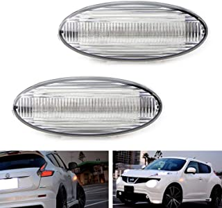 iJDMTOY Clear Lens Amber Full LED Front Side Marker Lights For Nissan Juke Cube Leaf, Powered by 20-SMD LED, Replace OEM Sidemarker Lamps