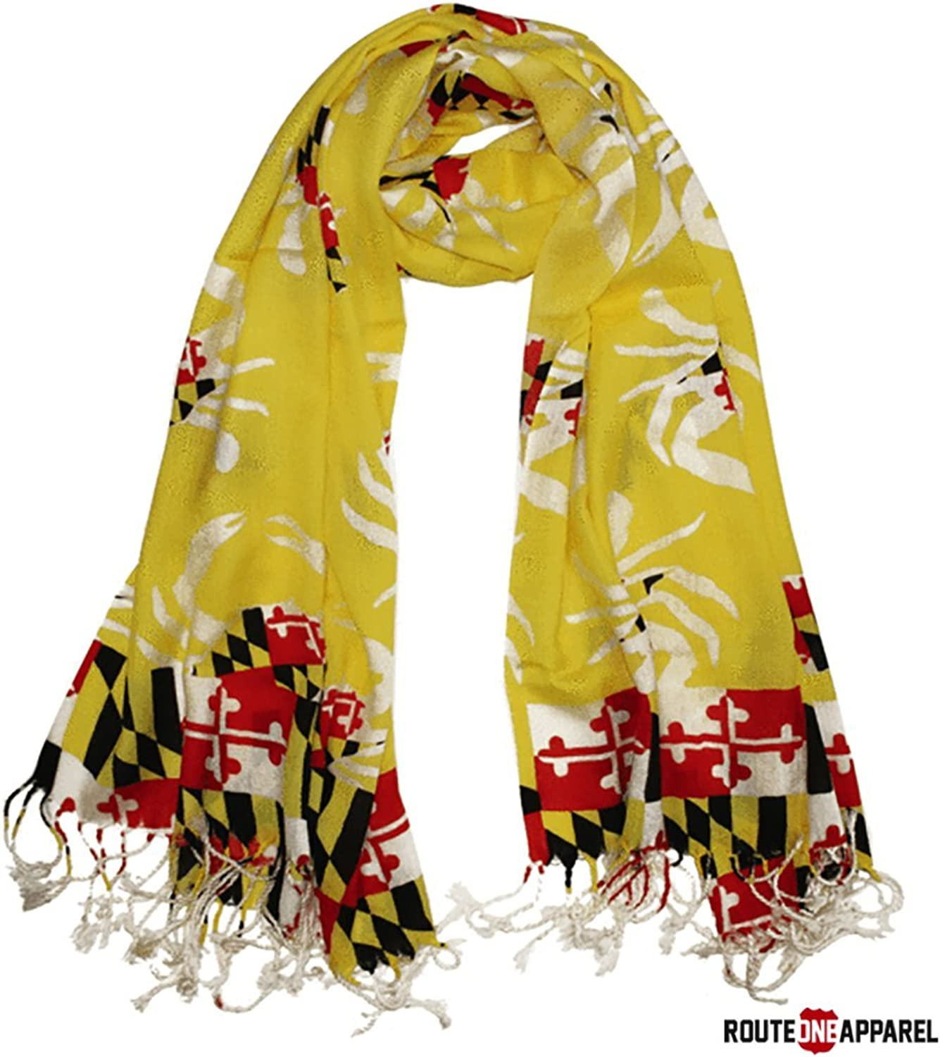 Route One Apparel   Women's Maryland Flag Crab Pattern Scarf