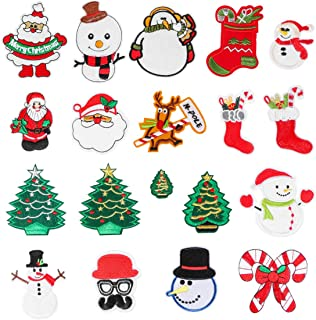 Santa Tree Snowman Tree Embroidered Patches 25pcs Assorted Christmas Patches On Or Sew On Patches Applique for DIY Crafts Clothes Backpacks
