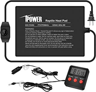 "iPower 6""x8"" Reptile Heat Pad Under Tank Warmer Terrarium Heating Mat with Temperature Adjustable Controller, Thermometer ..."