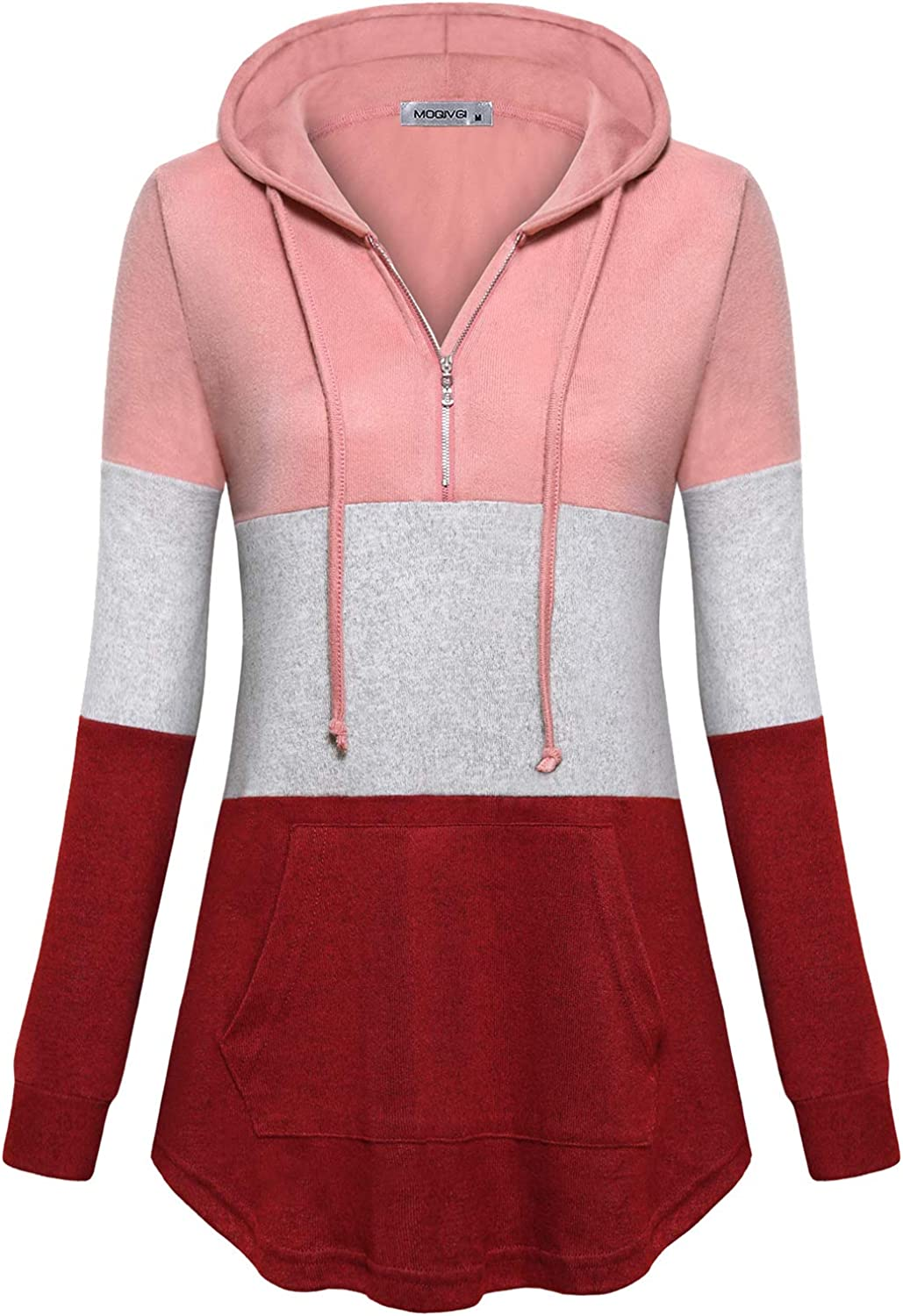 Discount is also underway Luxury MOQIVGI Womens Quarter Zip Pullover Sleeve Long Hoodies Color Bl