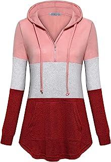 MOQIVGI Womens Quarter Zip Pullover Hoodies Long Sleeve Color Block Lightweight Fleece Sweatshirts with Pockets