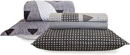 56db619786 Kit Cama Home Design Memphis Percal 100% Algodão Santista - Solteiro King -  Cinza