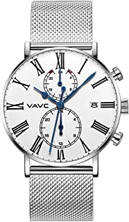 VAVC Men's Black Leather Band Causal Analog Dress Quartz Wrist Watch with Black Face and Simple Design