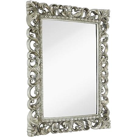 "Hamilton Hills Antique Silver Ornate Baroque Frame Mirror | Elegant Old World Feel Plate Glass Mirrored Design | Hangs Horizontal or Vertical ( 28.5"" x 36.5"" )"