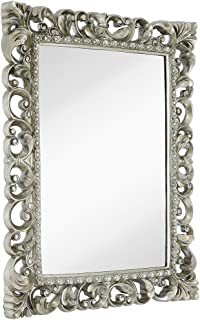 Hamilton Hills Antique Silver Ornate Baroque Frame Mirror | Elegant Old World Feel Plate Glass Mirrored Design | Hangs Horizontal or Vertical (28.5