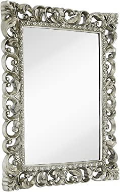 "Hamilton Hills Antique Silver Ornate Baroque Frame Mirror | Elegant Old World Feel Plate Glass Mirrored Design | Hangs Horizontal or Vertical (28.5"" x 36.5"")"