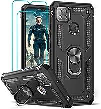 LeYi pour Coque Xiaomi Redmi 9C/9C NFC avec [2 Verre Trempé], Anneau Support Militaire Double Couche Renforcée Défense Bumper TPU Silicone Antichoc Armure Protection Housse Etui pour Redmi 9C Noir